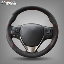 Black Leather Suede Steering Wheel Cover for Toyota RAV4 2013-2017 Corolla 2014-