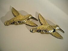 Set of 2 Vintage Retro Homco Home Interor Plastic Gold Colored Hummingbirds