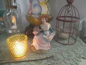 Vintage Avocado Green Glass Tea Light Candle Holder Garden Home Decoration