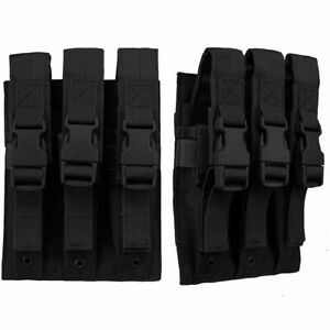 TRIPLE STACK 3 MAG MAGAZINE NCSTAR VISM Pistol Rifle Adjustable Flap Black MOLLE