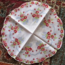Vintage Ladies Round Hankie Pink Flowers & Blue Ribbon Bows Scalloped Edge 1950s