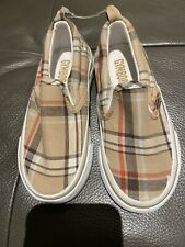 NWOT GYMBOREE Brown Red  Plaid Canvas Slip-On Shoes SZ 09 Young Boy/Toddler