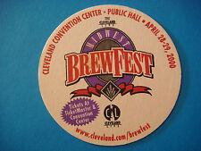 Beer Bar Coaster ~*~ MIDWEST BrewFest 2000 ~<>~ Nautica Complex, Cleveland, OHIO