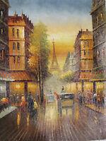 Paris colourful oil painting canvas France art cityscape original Eiffel French