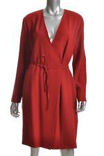 Emanuel EMANUEL UNGARO Sz 14 / 48 Red Long Sleeve Wool Dress Korea Minimalistic