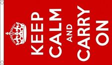 Keep Calm and Carry On Flag - RED - 5 x 3 FT - 100% Polyester With Eyelets