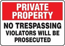 Private Property NO TRESPASSING ViolatorsAccuform MATR510VS Adhesive Vinyl Sign