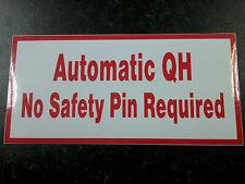 Automática rápida enganche de advertencia de seguridad pegatina / Calcomanías