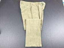 Barbour Cotton Blend Green Khaki Single Pleat Pants Mens 40 Fits 38x36 Brushed