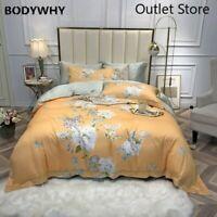 100%Tencel Silk Floral Duvet Cover Set  Breathable Bedding Bed Sheet Set 4Pcs