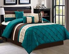 Dcp 7Pcs Oversize Embroidery Soft Bed in Bag Microfiber Comforter Set Teal,King