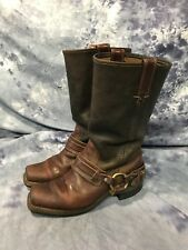 FRYE Women's Brown Leather Tall Harness Sexy Urban Hipster Boots 7M USA