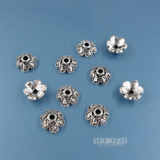 10 Antiqued Solid Sterling Silver 6mm Floral Bead Caps #33853
