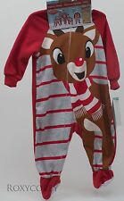 Christmas Rudolph the Red Nose Reindeer Footed Blanket Sleeper Size 3-6 months
