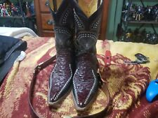 Mens Leather cowboys Boots Size 8.5 With Embroidering Plus Belt