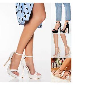 Womens Stiletto High Heel Platform Sandals Ladies Ankle Strap Sexy Black Shoes