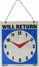 Double Sided Open Will Return Sign W Clock Hands 75x9