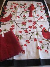 NOW DESIGNS 2Pc Kitchen Dish Towel Tea Towel Red Cardinals Bird NWT 100% Cotton