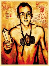 Obey Giant Shepard Fairey Poster Print Keith Haring Spray Paint Can LGBT