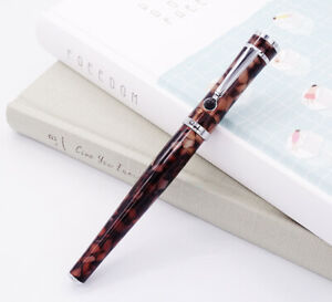 Fuliwen 2037 Rollerball Pen Fashion Style Brown Offfee Celluloid Corrugated