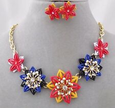 Flowers With Rhinestones Necklace Set Red Orange Blue Gold Fashion Jewelry NEW