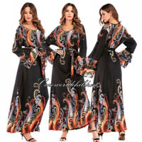Women Floral Printed Abaya Vintage Muslim Maxi Cocktail Dress Jilbab Robe Kaftan