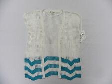 Roxy Woman Small Top Cardigan Gaia White Teal Stripe Knit Top