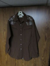 PENDLETON HIGH GRADE WESTERN WEAR sz Medium 100% Virgin Wool Plaid Shirt brown
