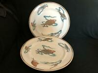 "2 X VINTAGE ROYAL WORCESTER POLYCHROME DINNER / DISPLAY PLATES 10.5"" DIAM - FISH"