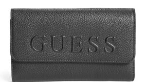 NEW GUESS Women's Donohue Black Logo Embossed Faux Pebbled Leather Wallet