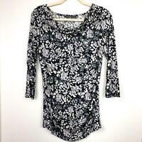 Rose & Olive Women's M Shirt Blouse Stretch Jersey Black Gray 3/4 Sleeve