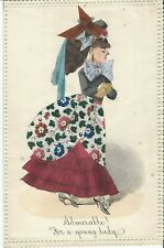 Paper Ephemera, Victorian Octavo Letter Sheet, Hand Coloured With Applied Fabric
