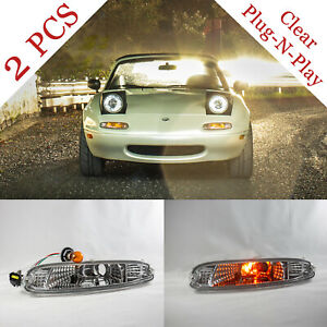 NA MIATA Clear Front Bumper Lights (Pair) Mazda MX-5 MX5 Plug N' Play NEW