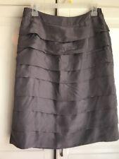 Boden Gray Silk Tiered Cascade Layered Skirt Size 6 US Size 10 UK EUC