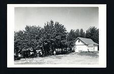 Bemidji Minnesota MN 1940s RPPC Oak Point Resort Cabin, Signs WILD RICE, VACANCY