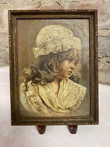 Original Oil Painting circa 1898 GIRL IN BONNETT signed K G Jenssen & dated