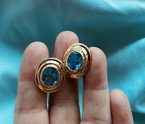 Estate 14kt Yellow Gold Swiss Blue Topaz OMEGA BACK Earrings 8.9 GRAMS 12+cttw