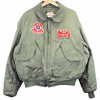Q41 Vintage USN Maintenance Chief Patch Logo Green Bomber Jacket Men's Size XL