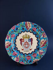 Vintage Emaux de Longwy Wall/Cabinet Plate-VENDEE, FRANCE COAT OF ARMS