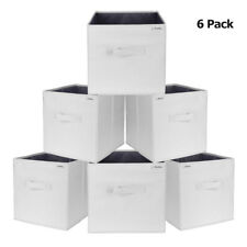 6PK Foldable Polyester Storage Cubes, Drawer Baskets Bins Light Gray W/ PP board