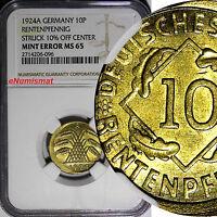 Germany-Weimar Republic 1924-A 10 Rentenpfennig NGC MINT ERROR MS65 SCARCE KM#33