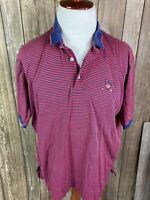 Polo By Ralph Lauren Mens Red Navy Blue Stripe 1/4 Button Up Shirt Size XL