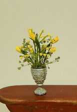 Vintage Antique Vase W Yellow Roses Artisan Dollhouse Miniature 1:12