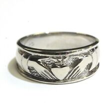 14k white gold ladies womens claddagh band ring 4.5g vintage estate antique