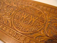 Embossed WHEELER&WILSON Oak Sewing Machine Parts Storage Box/Original Hardware.