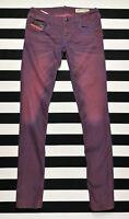 DIESEL Women's GRUPEE Super Slim Skinny Low Waist Stretch 0601F Purple Jeans W28
