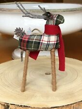 NWT Pottery Barn Reindeer Plaid Christmas Tree Twig Deer Ornament Red animal