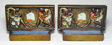 """Pompeian Bronze's """"Graphic Arts"""" Bookends/Bronze Clad ~1925/Large Very Nice Set!"""