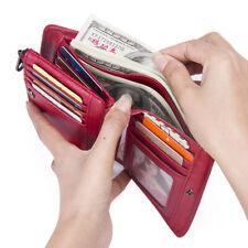 Genuine Cowhide Leather Wallet Women RFID Blocking 13 Card Holder Bifold Purse