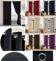 READY MADE THERMAL BLACKOUT CURTAINS PAIR WITH EYELET RING TOP + FREE TIE BACKS